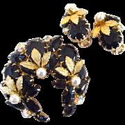 Juliana D&E Black Rhinestone and Simulated Pearl Brooch and Earrings Set