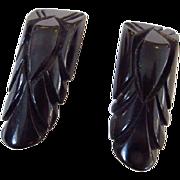 Pair Carved Black Bakelite Dress Clips