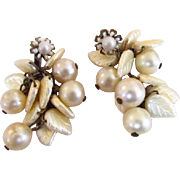 Miriam Haskell Simulated Pearl & Leaf Earrings
