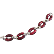Coro Red Lucite Confetti Bracelet with Rhinestones