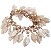 Lucite Leaves & Simulated Pearls Charm Book Chain Bracelet