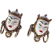 Selro Selini Asian Princess Lucite Earrings with Simulated Pearls