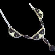 Forstner Art Deco Black and White Enamel and Black Rhinestone Necklace