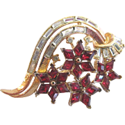 Trifari Alfred Philippe Red & Clear Rhinestone Twinkle Brooch
