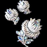 Coro Blue Aurora Borealis Floral Rhinestone Brooch and Earrings Set
