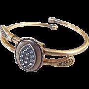Bates & Bacon Gold Filled Rhinestone Taille d'Epargne Clasper Bracelet