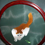 Cute Silk Embroidered Cat After A Grasshopper