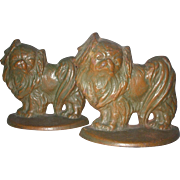 SALE PENDING Nice Cast Iron Pekingese Dog Bookends
