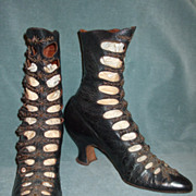 SALE Spectacular Antique BEADED Fancy Ladies Button Up Boots