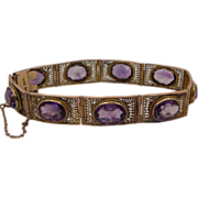 "SOLD Vintage 14K Gold 7"" Bracelet adorned with 9 Exceptional Gem quality Amethyst"