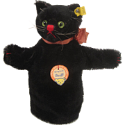 Steiff's Black Mohair Tom Cat Hand Puppet With All IDs