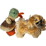 Set of Two Steiff Miniature Favorites Including A Duck And A Dog