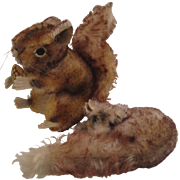 Pair of Steiff Mohair Field and Forest Friends - Perri the Squirrel and Dormy the Dormouse