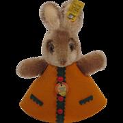 Steiff's Adorable Rabbit Nightcap Animal In An Orange Felt Dress With All IDs