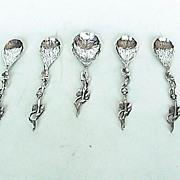 Set of five Dutch vine & leaf silver spoons