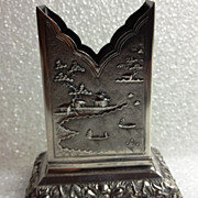Beautiful and unusual 900 silver Vietnamese match holder stand