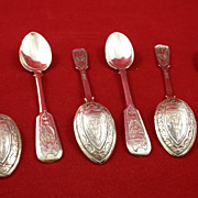 Exceptional set of six Russian silver spoons c. 1891