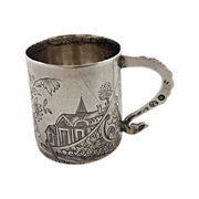 Superb Russian 84 silver cup with a scene