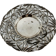 Small Chinese export silver dish in bamboo style