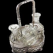 Five-piece 800 silver cruet set