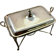 Fantastic English sterling silver chafing dish c. 1892, over 40oz!