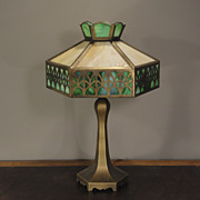 Cut Brass 12 Panel Slag Glass Lamp