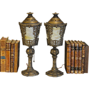 Lovely Ornate Pair Slag Glass Mantle Lamps