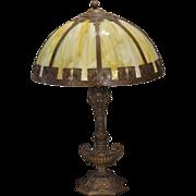 Large H.A. Best Aladdin`s Lamp Base Slag Glass Panel Lamp