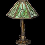 SOLD Pretty Overlay Slag Glass Lamp