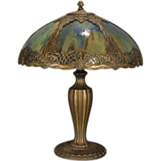 SOLD Large Stunning Art Nouveau Weeping Leaf, Floral and Berry Slag Glass Lamp
