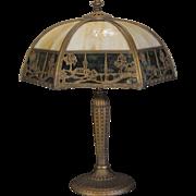 SOLD Lovely EM Miller Double Panel Scenic Slag Glass Lamp