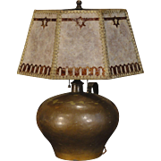 Handcrafted Arts & Crafts Copper Lamp w/ Mica Overlay Shade