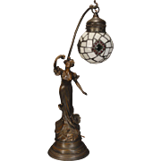 SOLD Large Beautiful Art Nouveau Figural Lamp w/ Slag Glass & Jeweled Shade