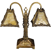 SOLD Large Fabulous Arts & Crafts Wrought Iron Double Shade Slag Glass Desk Lamp