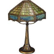 SOLD Gorgeous Bradley & Hubbard Arts & Crafts Scenic 16 Panel Slag Glass Lamp