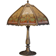 Large Stately Reverse Painted Ribbed Glass Lamp