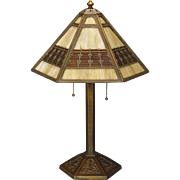 Gorgeous Bradley & Hubbard Arts & Crafts Obverse Painted Slag Glass Lamp