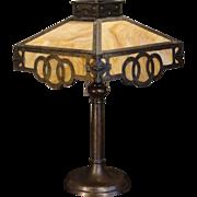 Large Hammered Arts & Crafts 16 Panel Circles Slag Glass Lamp