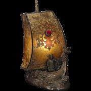 Signed Dragon Viking Ship w/ Overlay Sail Mica Jeweled Shade