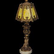 Art Nouveau Figural Slag Glass Boudoir Lamp