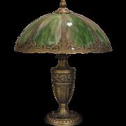 Huge Opulent Art Nouveau Slag Glass Lamp