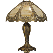 Exquisitely Fancy Golden Gothic Slag Glass Lamp