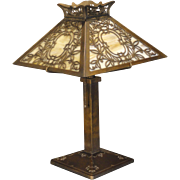 Bradley & Hubbard Ornate Overlay Slag Glass Lamp
