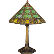 Large Ravishing 27 Panel Gothic Slag Glass Lamp