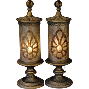 Large Pair Elegant Mica Cylinder Shade Mantle Lamps