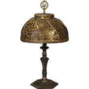 Small Antique Cut Brass Mica Lined Lamp
