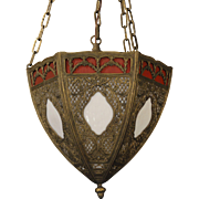 Gorgeous Ornate Overlay Obverse Painted Hanging Lamp