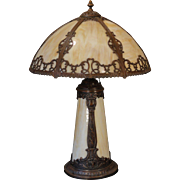 Ornate Slag Glass Lighted Base Lamp