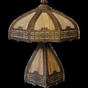 Lovely Unusual Slag Glass Lighted Base Lamp