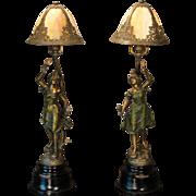 Rare Pair Art Nouveau Figural Mantle/ Credenza/ Newel Post Slag Glass Lamps